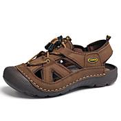 Hombre-Tacón Bajo-Confort Mary Jane Zapatos agujero-Sandalias-Exterior Informal-Cuero-Bronceado Caqui