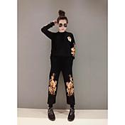 スポット本物の女性' sのヘビー刺繍長袖ニットパンツスーツツーピース記号