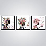 Impresiones en Lienzo Estirado Abstracto Caricatura Modern,Tres Paneles Lienzos Horizontal Estampado Decoración de pared For Decoración