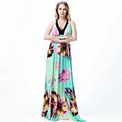 Mujer Corte Swing Vestido Playa Boho,Floral Halter Maxi Sin Mangas Verde Poliéster Primavera Verano Tiro Alto Microelástico Medio