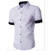 カジュアル/普段着 シャツ,シンプル シャツカラー ソリッド コットン 半袖