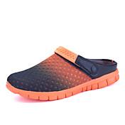 Masculino-Sandálias-par sapatos Conforto-Rasteiro-Cinza Laranja Azul preto Preto branco Azul Escuro-Tule-Ar-Livre Casual