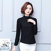 春先に署名2017新しい重い絹のシャツjoeの女性の気質は、ソリッドカラーのシャツの潮をフラウンス付き