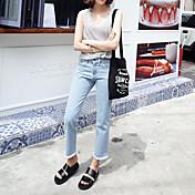 韓国の学生のフラッシュ春と夏のワイドレッグパンツは女性の女性のハイウエストストレートジーンズ緩い9ポイントのジーンズ