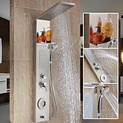 現代風 シャワーシステム 滝状吐水タイプ ワイドspary ハンドシャワーは含まれている with  セラミックバルブ シングルハンドル二つの穴 for  ステンレス , シャワー水栓