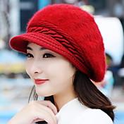 秋と冬の女の子のウサギの毛のファッション純粋な色のベレー帽暖かいニットウールの野球帽