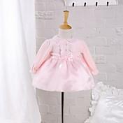 Vestido Bebé-Noche Casual/Diario-Un Color-Algodón Poliéster-Primavera Otoño-Rosa