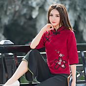 Mujer Tejido Oriental Boda Diario Calle Primavera Otoño Blusa,Escote Chino Bordado Manga Larga N/A Medio