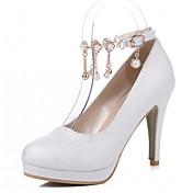 Mujer-Tacón Stiletto-Confort-Tacones-Oficina y Trabajo Vestido Informal-Semicuero-Negro Rosa Blanco
