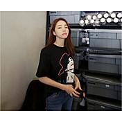 韓国の新しい春のファッションソリッドカラーの写真プリントルーズTシャツ