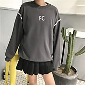 印刷リボンプリント長袖のセーター薄い女性に署名