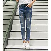 2017 firmar nuevos agujeros personalidad femenina coreano sueltos pantalones vaqueros pies
