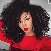 Nový výstřední kudrnaté syntetické krajky vpředu paruka 180% hustoty vysoce kvalitní syntetické doupě přírodní černé vlasy pro ženy