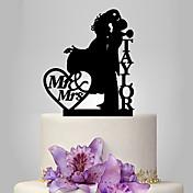 ケーキトッパー あり 夫妻 アクリル 結婚式 記念日 レッド ゴールド 銀 ブラック クラシックテーマ OPP