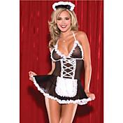 Disfraces de Cosplay Traje de Camarera Enfermera Festival/Celebración Disfraces de Halloween Negro con Blanco Bloques Falda Ligas