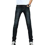Hombre Delgado Vaqueros Pantalones,Un Color Casual/Diario Sencillo Tiro Medio Botón Algodón Poliéster Micro-elástica All Seasons
