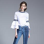 Mujer Simple Noche Primavera Verano Camisa,Escote Redondo Un Color Manga Larga Algodón Blanco