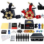 Komplet tatovering kit 2 x støbejern tatoveringsmaskine til optegning og skygge 2 Tattoo Maskiner Blæk sendes separat
