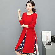El vestido femenino verdadero del tiro 2017 resorte y la sección larga del otoño de la versión coreana era falda impresa fina de la gasa