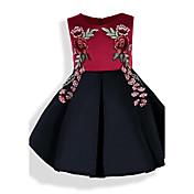 女の子の ゼブラプリント フラワー 刺繍 コットン ドレス 夏 オールシーズン 春 半袖