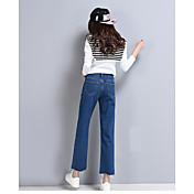 pantalones vaqueros rectos del resorte Muestra femenina de cintura alta pierna ancha pequeños bordes irregulares pantimedias cintura