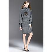 女性の冬の2016新しいレトロな高襟セーター編みバッグヒップスリムでスタイリッシュなスカートスーツ