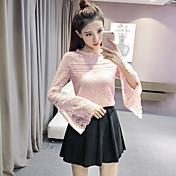 サインレース長袖シャツ2017春新しい女性の韓国の小さなシャツブラウス中空杉のトランペット袖