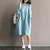 Mujer Recto Vestido Diario Calle Tejido Oriental,Color sólido Escote Redondo Hasta el Gemelo Manga Larga N/A Verano Tiro Alto Rígido Medio