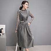 2017春プリーツスカートスーツファッション潮女性のバッキングストラップドレスのスカートピース