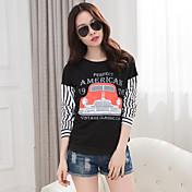 Realmente la primavera de 2017 nuevas mujeres coreanas&# 39; s de moda suelta de manga larga camiseta de la camisa metros grandes