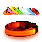 猫用品 犬用品 カラー LEDライト 調整可能/引き込み式 点滅 安全用具 純色 虹色 レッド ホワイト グリーン ブルー ピンク イエロー オレンジ ナイロン プラスチック