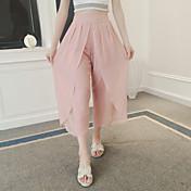 Signo asimétrico diseño irregular plisado gasa pierna ancha pantalones cintura fino culottes verano