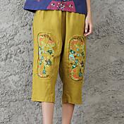 Tiro real en el verano 2017 nuevo bolsillo bordado algodón retro del estilo chino 7 puntos bolsillo ocasional bolsillo de los pantalones