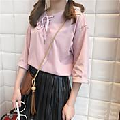 本当のショット!襟ストラップの緩やかなソリッドカラーTシャツのシャツシャツ女性の学生の韓国語版