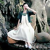 2017年の夏の新しいレトロな女性の風の縫い合わせの綿のドレス禅の摩耗中国の服