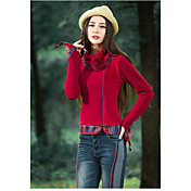 Mujer Tejido Oriental Calle Casual/Diario Primavera Otoño Camiseta,Escote Chino Art Decó Manga Larga N/A Medio