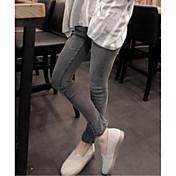 Los nuevos pantalones vaqueros hembra gris humo era fino lápiz pantalones ajustados estiramiento pantalones pies delgado marea coreana