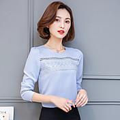 cuello redondo de manga larga camisa de gasa 2017 nueva primavera salvaje coreano tocando fondo amplia Leisi de la canción pequeñas blusas