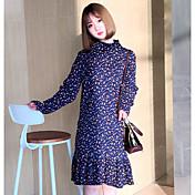 Signo crimpado pequeño fresco nuevo primavera silvestre sección larga de la mujer de manga larga vestido floral flounced