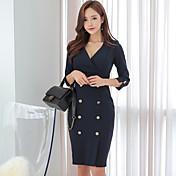 春新しい韓国のセクシーなスプリットVネックダブルブレストスリムパッケージヒップドレスの女性の気質の女性の潮