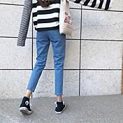 Signo cintura jeans pantyhose femenina pantalones de pies de ancho halun canción pantalones