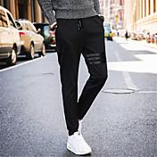 メンズ シンプル ストリートファッション 活発的 ミッドライズ ストレート スリム マイクロ弾性 チノパン スウェットパンツ パンツ ゼブラプリント