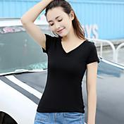 Signo de 2017 blusas de verano coreano delgado de cuello en v de manga corta camisa camiseta femenina cien estudiantes