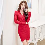 Firmar nueva primavera 2017 korean club nocturno sexy paquete de la cadera vestido femenino de manga larga marea de la camisa