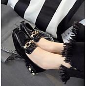 Mujer-Tacón Bajo-Confort-Zapatos de taco bajo y Slip-Ons-Informal-Cuero Patentado-Negro Verde