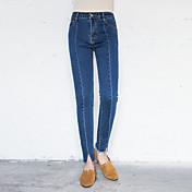 Signo pantalones cortar los bordes jeans mujer cintura delgado estiramiento lápiz pantalones pies nueve puntos