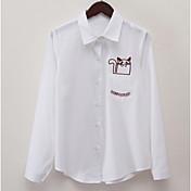 レディース カジュアル/普段着 シャツ,シンプル シャツカラー ソリッド コットン 長袖 薄手