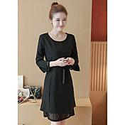 春の新しい韓国のドレスの長いセクションは、薄いレースのかぎ針編み中空長袖シャツスリムだった