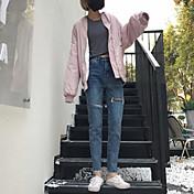 la nueva oportunidad real era finas sueltas vaqueros del agujero de la moda mendigo coreano pantalones pies nueve puntos pantalones