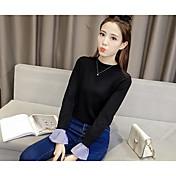 女性の2016年冬の新しい韓国のルースヘッドフェイクツーピースホーンスリーブ長袖ニットシャツのセーターの流入